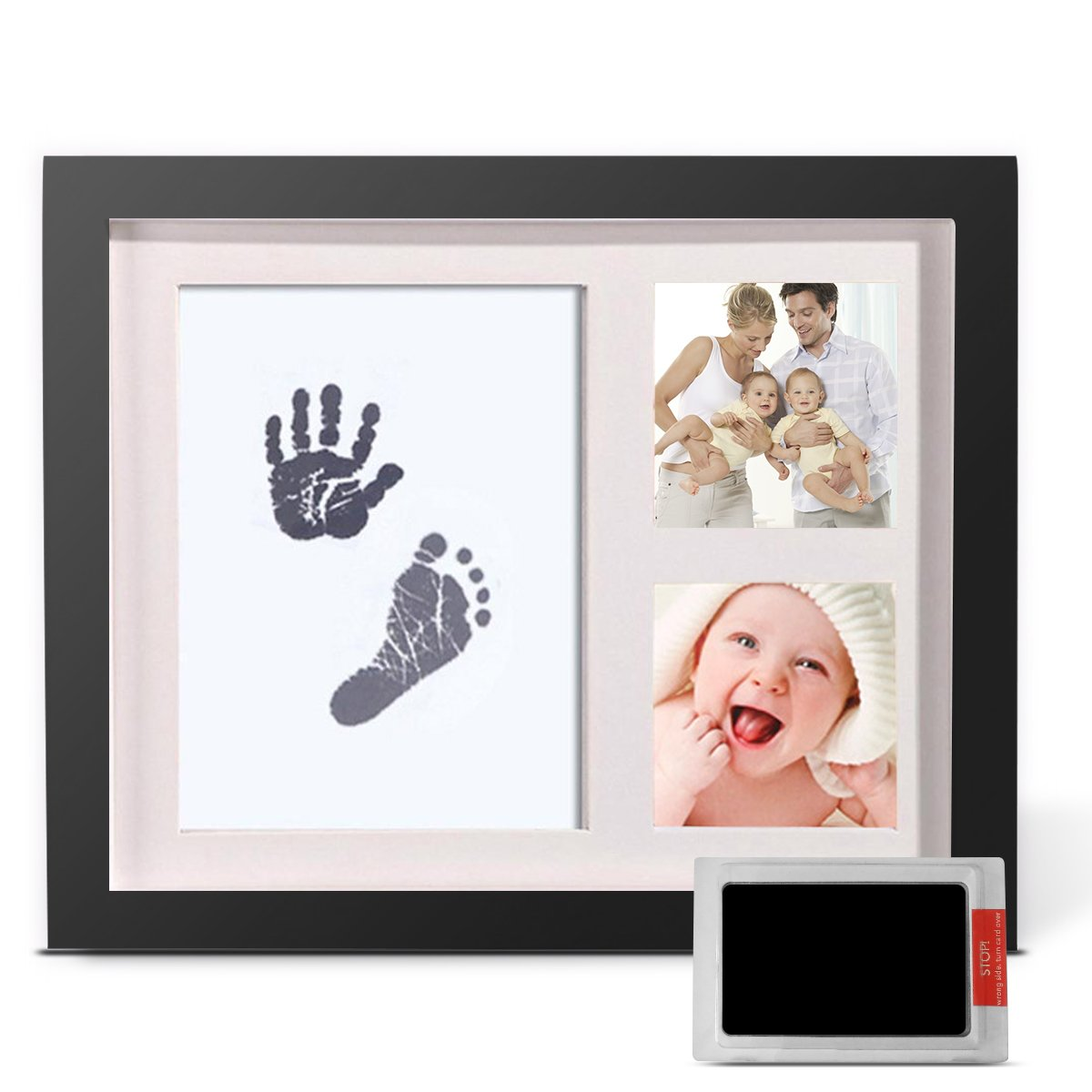 Baby Handprint and Footprint Photo Frame Kit by TopSuccess Without Ink-Touch,Safe and Non-Toxic Ink Print Kit for Baby Babyprints Inkpad Best for Newborn Baby Gifts GM10 (Black)