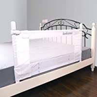 "KOOLDOO 43"" Vertical Lift Toddlers Safety Bed Rail Children Bed Guard with NBR Foam Include 1Pc Seat Belt (White)"