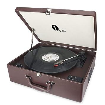 1 BY ONE Maletín Tocadiscos de 3 velocidades Wireless con Altavoces incorporados, Grabador de Vinilo a MP3, USB Reproductor MP3, Entrada AUX y RCA, ...