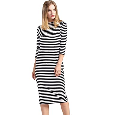 f129fca0a7bf8 Nat Terry Women Maternity Dresses, Breastfeeding Nursing Full Sleeve Striped  Thick Dress at Amazon Women's Clothing store: