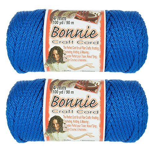 2 Pack Bonnie Macramé Cord - 4mm - 100 Yard Lengths (Royal Blue)