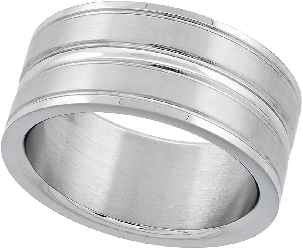 Surgical Stainless Steel 10mm Wedding Band Ring Grooved Center and Edges Matte Finish, Sizes 8-14