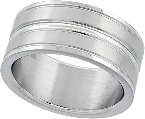 Stainless Steel Polish Finished Grooved Ribbed Flat Band Ring