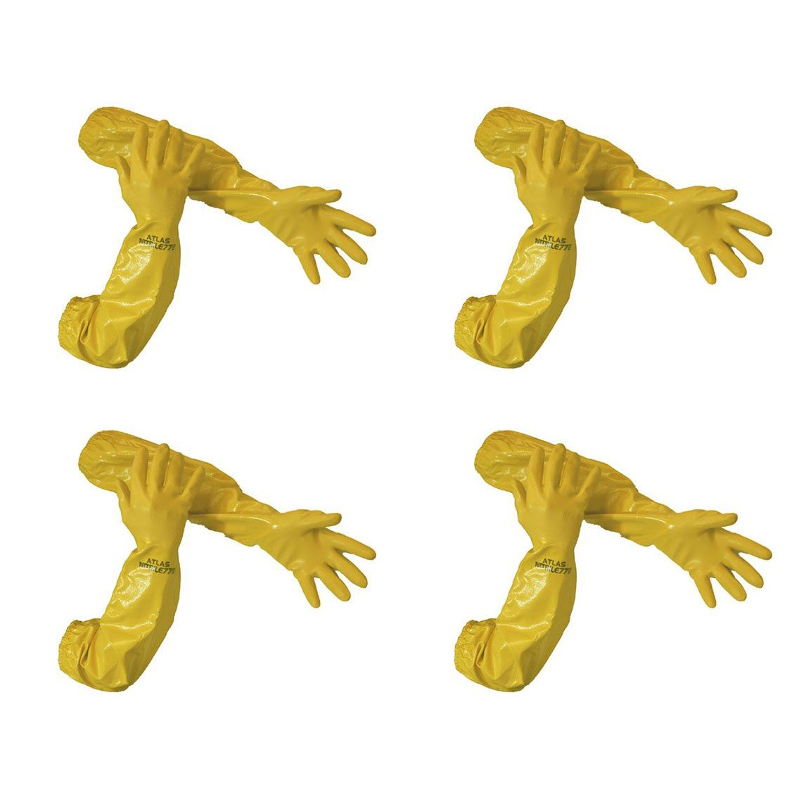 Atlas 772 26-inch Nitrile Large Elbow Chemical Resistant Yellow Gloves, 4-Pairs