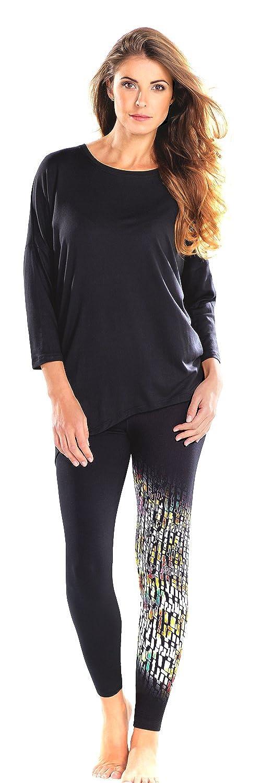 Cybele Damen Freizeitanzug Shirt Kimono Ärmel + Legging Damen Set 6 Gr. 36 - 46 Homewear + 1 Paar Feinkniestrümpfe