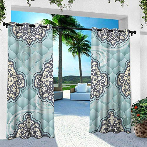 (leinuoyi Victorian, Outdoor Curtain Ends, Rococo Style Design Tiles Stylish Romantic Brocade Diamond Arabesque Swirls, for Patio W96 x L108 Inch Pale Blue Ivory)