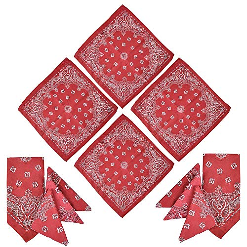 Kicko Red Paisley Bandanna – Multi-Purpose Red Bandana – Clothing, Shoes & Jewelry, Uniforms