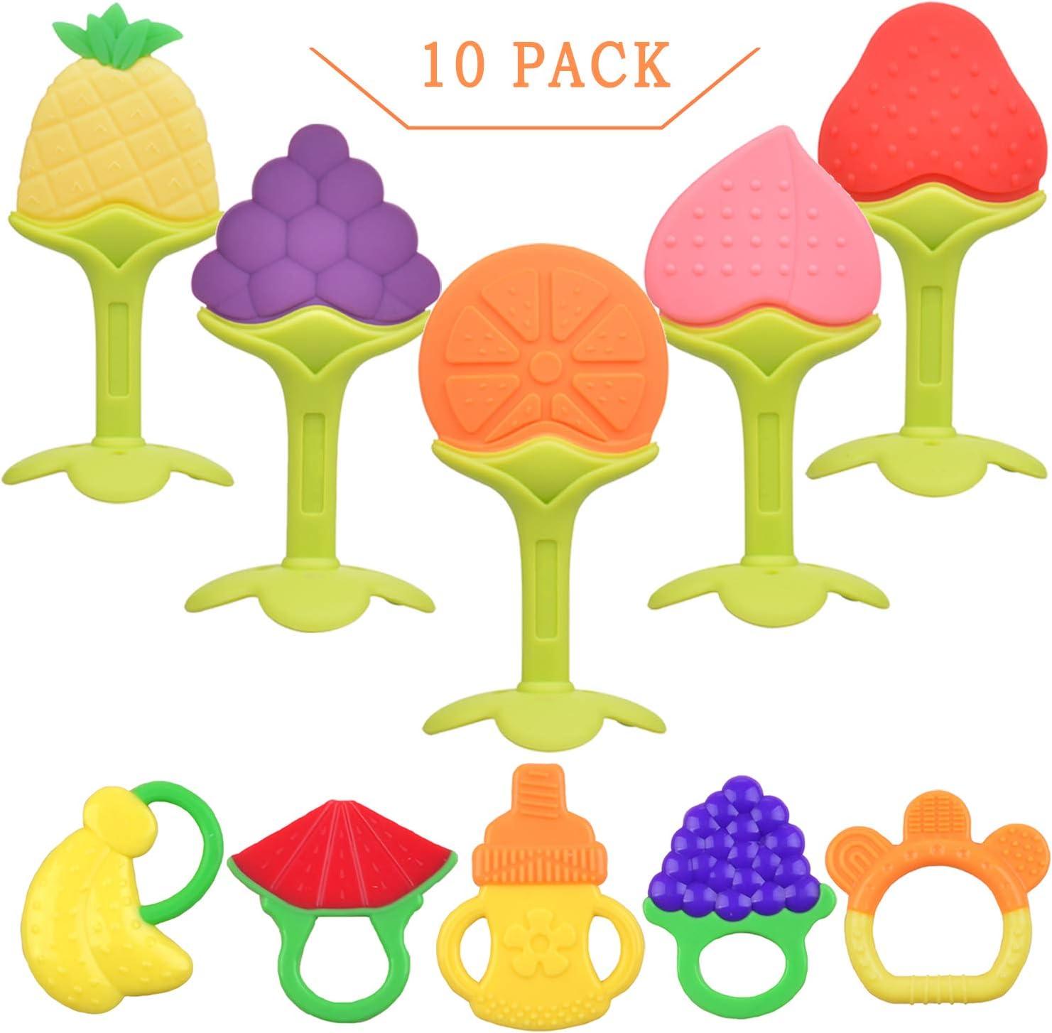 NEPAK paquet de 10 Anneau de Dentition,Anneau Dentition Bebe Silicone Refrigerants,Jouet de Dentition et Silicone 100/% sans BPA