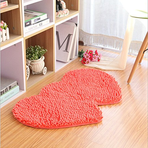 Ustide Fancy Double Heart Wedding Rugs Customized Shaggy Chenille Area Rug Non-Slip Absorbent Floor Rugs/Floor Mat Carpet for Bedroom, (Fancy Double Heart)