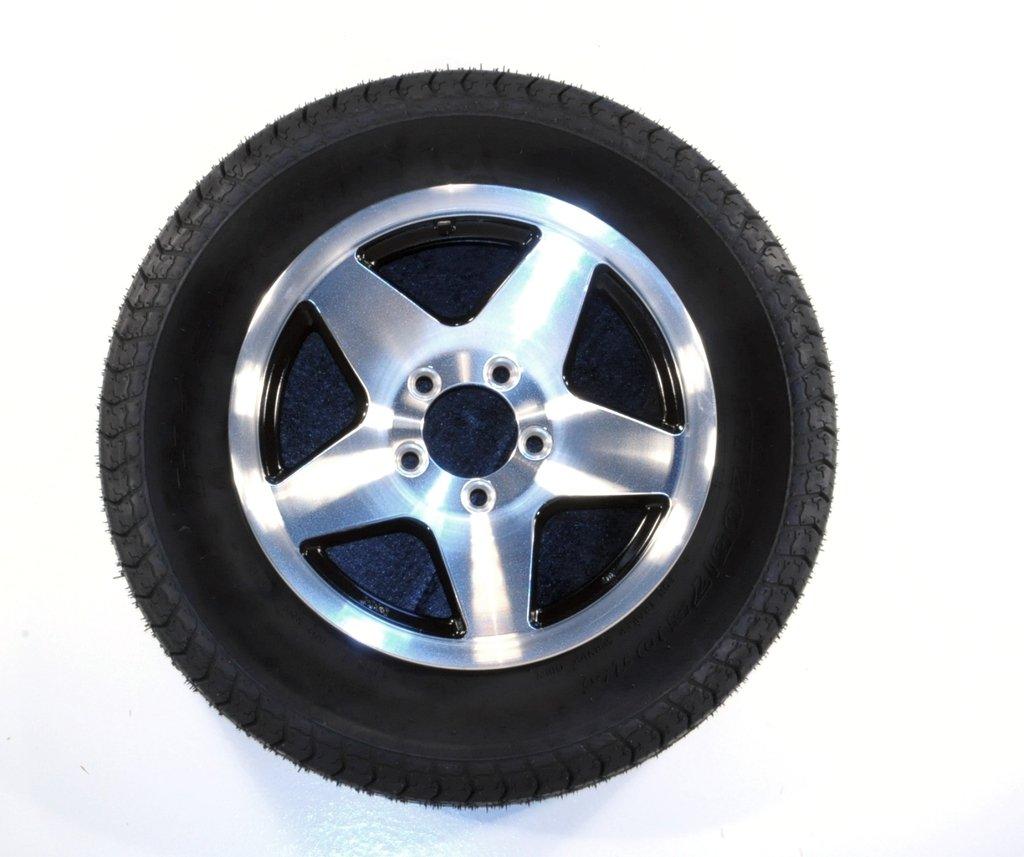 2-Pack Trailer Tires ST175/80D13 Load C 5 Lug Black Star Aluminum Rim Wheel