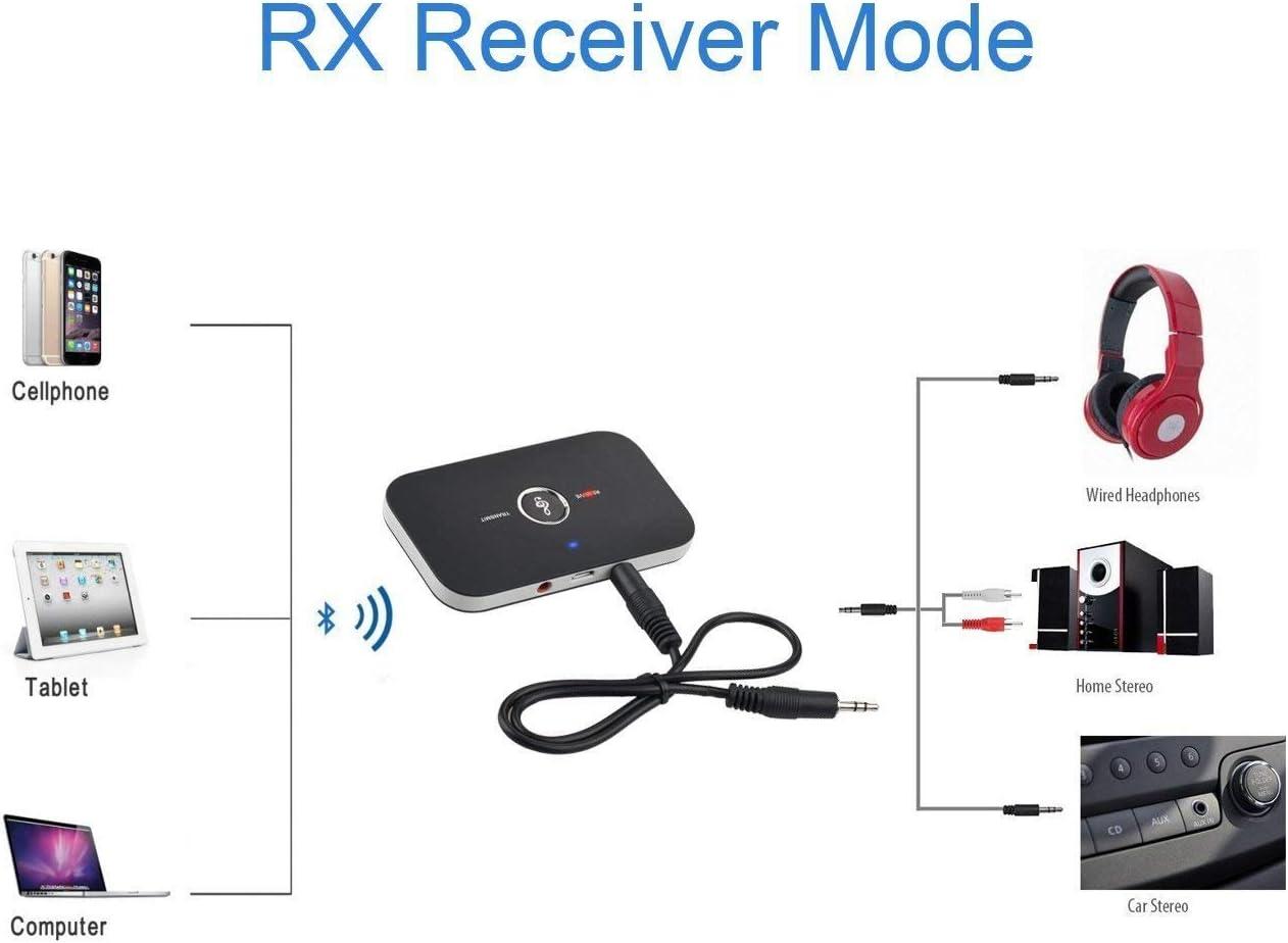 Ozvavzk Ricevitore Bluetooth,Trasmettitore Bluetooth 4.1 Audio 2 in 1 con Uscita Audio 3,5 mm Adattatore Supporto MP4//TV//PC//Auto//Laptop//Sistema Home Stereo Nero