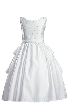 White Satin Sleeveless Communion Dress with Cummerbund and Accented with Pearls - Size 5