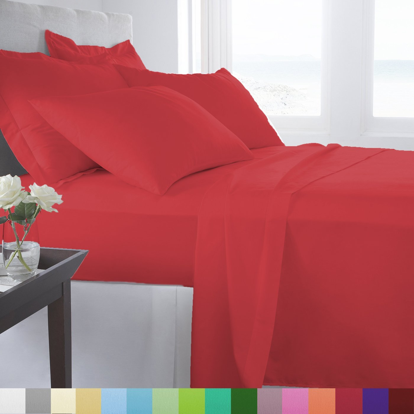 Supreme Super Soft 4 Piece Bed Sheet Set Deep Pocket Bedding - Full Size Red