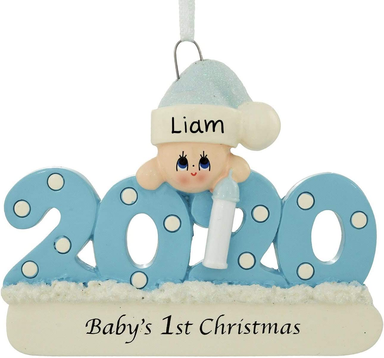 2020 Baby's 1st Christmas Ornament Personalized (Blue (Boy))
