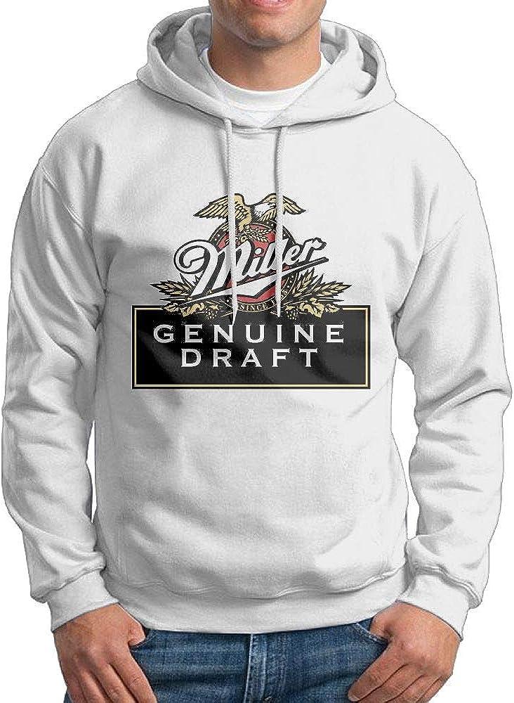 KLA2000 Mens Hoodies Miller Beer Logo Casual Hooded Drawstring Sweatshirts
