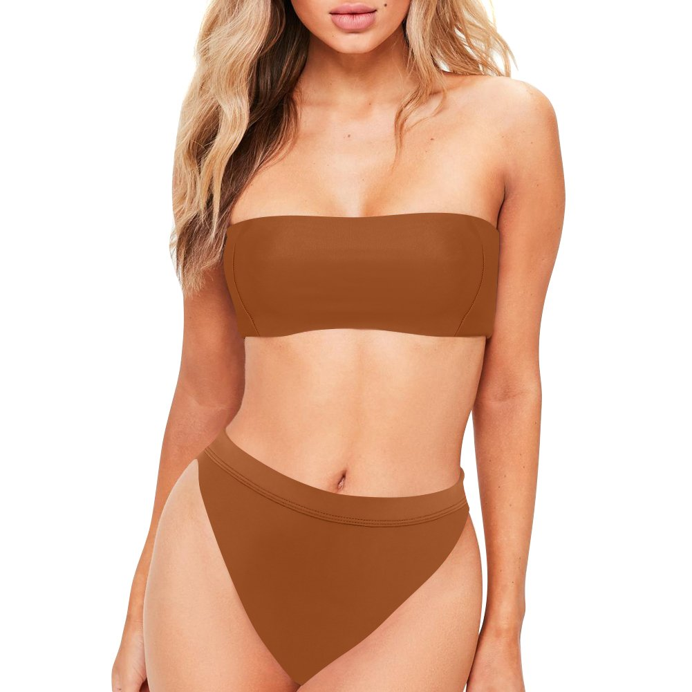 611d00cd3f Dixperfect Sexy Bikini Set Swimwear Classic Bandeau Tube Top 80 s 90 s High  Cut Bottom for