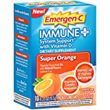 Cheap Emergen-C Immune+ (10 Count, Super Orange Flavor) System Support Dietary Supplement Fizzy Drink Mix With Vitamin D, 1000mg Vitamin C plus Antioxidants & Electrolytes, 0.33 Ounce Packets