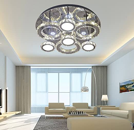 LED cristal lámpara de techo redondo Diseño plafón 80 W ...