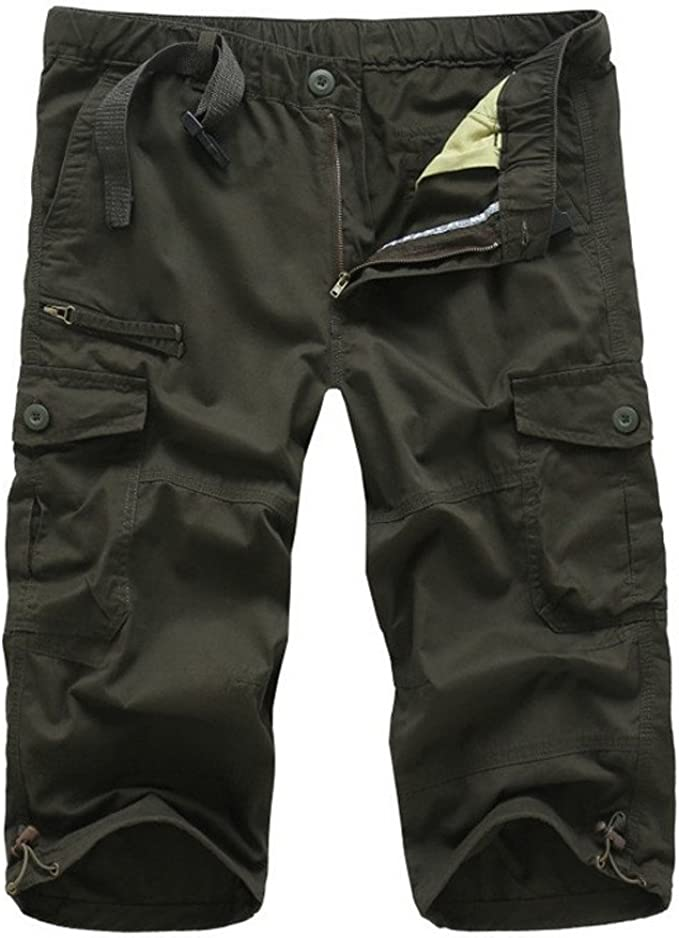 Mens Cargo Shorts Multi-Pockets Relaxed Fit Twill Cargo Loose Fit Casual Cotton Shorts