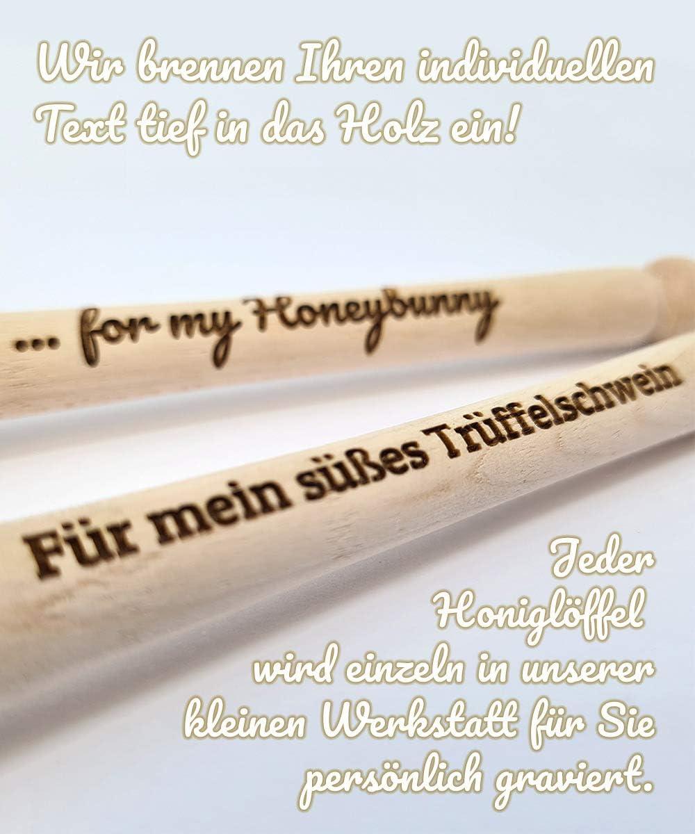 Diamandi Honigl/öffel mit Gravur Ihr Text in Holz eingebrannt s/ü/ße Geschenk-Idee f/ür Verliebte