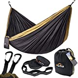 "Anortrek Camping Hammock, Lightweight Portable Single & Double Hammock With Tree Straps [10 FT/18+1 Loops], Parachute Hammock For Camping, Hiking, Garden, Yard (Grey&Khaki, Double 78""W x 118""L)"