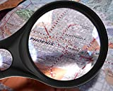 Magnifying Glass [3x 10x 45x w/ 3 LED Lights] Handheld Magnifier for Reading Maps - Best For Jeweler Watch Repair