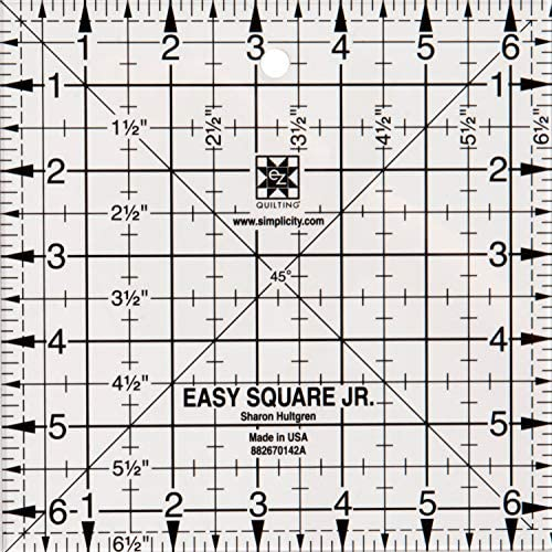 """EZ SIMPLICITY 6.5/"""" SQUARE TEMPLATE 6.5"""" x 6.5""""JUNIOR SQUARE RULER PATCHWORK"""