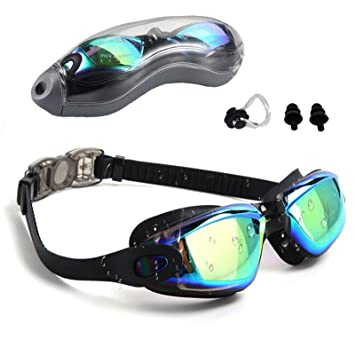 FMU Swim Goggles, No Leaking Anti Fog UV Indoor Outdoor Swimming Goggles  with Nose Clip Ear Plugs and Free Protection Case for Adult Men Women Youth