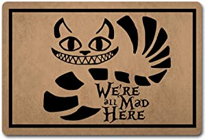 """ZQH Mats Funny Welcome Door Mat We're All Mad Here Doormat Anime Theme Welcome mats Anti-Slip Mats Home Decor Welcome Mat Gift Door Mats For The Entrance Way Indoor 23.6""""(W) X 15.7""""(L)"""