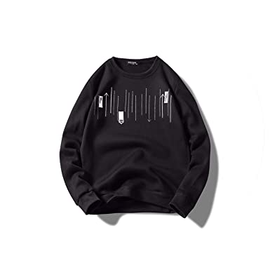 Spring Mens Sweatshirts Arrow Indication Decorate Light Thin Mens O-Neck Sweatshirt,Black,