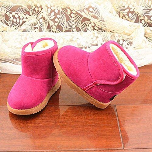 Chaussures Bébé,Fulltime® Bébé filles hiver coton chaud bottes de neige - Rose vif-