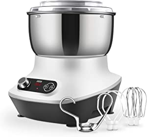 7 Qt Compact Kitchen Stand Mixer with Stainless Steel Mixing Bowl, Dishwasher-Safe Dough Hooks, Wire Whisks & Beaters, Scraper, 160W Electric Cake Mixer, 15 Min Timer & Splash Guard, Touch Control