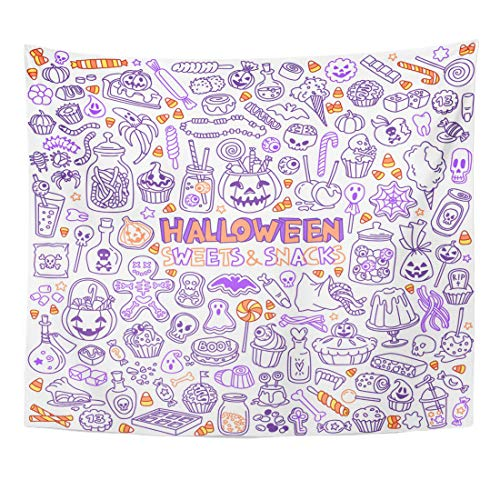 Emvency Tapestry Bar Candy Halloween Candies Sweets Snacks and Drinks for Trick Treating Kids Party Table Basket Home Decor Wall Hanging for Living Room Bedroom Dorm 50x60 Inches -