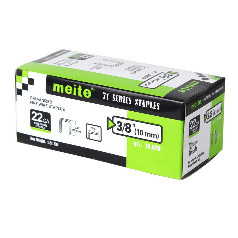 meite 22GA 71 Series or C Crown 3/8-Inch Crown By Leg Length 3/8-Inch Galvanized Fine Wire Staples Upholstery Staples (10000pcs/Box) Guangdong Meite Mechanical Co. Ltd 22G71S38
