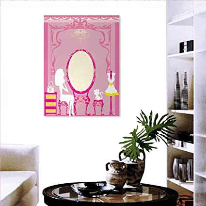 Warm Family Girls Wall Art Stickers Lady Sitting In Front French Cosmetic  Make Up Mirror