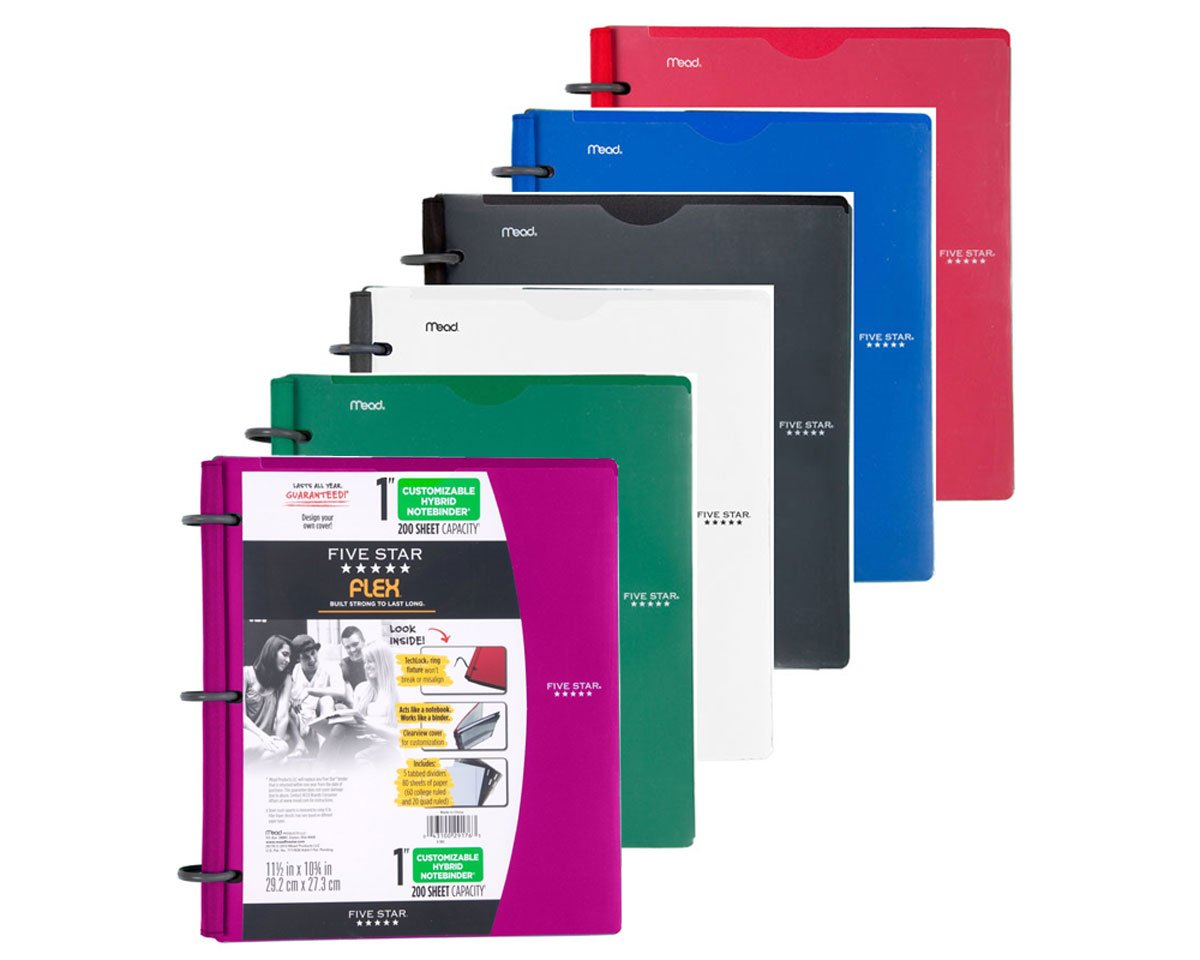 Five Star Flex NoteBinder, 1-Inch Capacity, Customizable Cover, 11.5 x 10.75 Inches, Notebook and Binder All-in-One, Assorted colores 6 Pack (72520) by Five Star