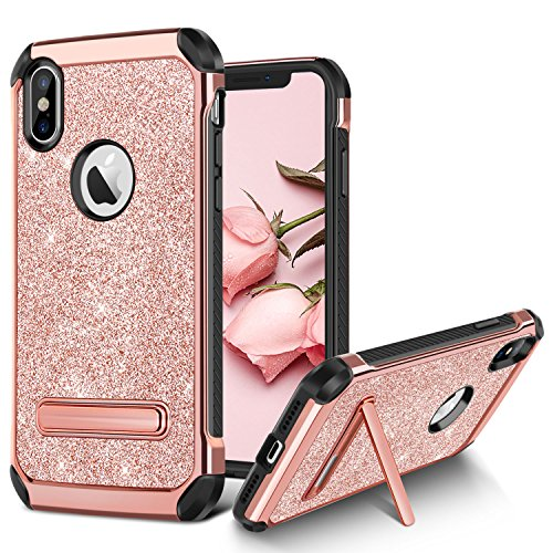 iPhone X Case, iPhone X Glitter Case, BENTOBEN Bling Slim Hybrid 2 in 1 TPU Bumper Hard PC Cover Coat Sparkly Shiny Cute Faux Leather with Metal Kickstand for Girls (Pink Metal Case)