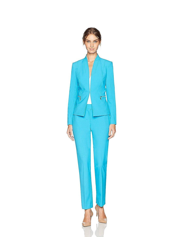 Tahari by Arthur S. Levine Women's Bi Stretch Pant Suit with Nickel Zipper Pockets Capri Blue 6 [並行輸入品] B075CJ1W8Y
