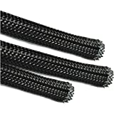 5 Meters, 4mm BRAIDED SLEEVING - EXPANDABLE BLACK BRAIDED FLEXIBLE CABLE SLEEVING - POLYESTER