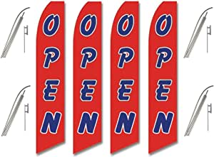 Four (4) Pack Swooper Flags & Pole Kits Red with Big Blue White Text OPEN