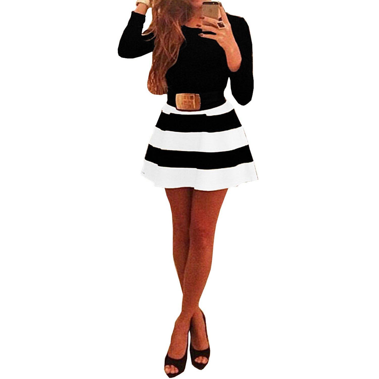 Womens Long Sleeve Black White Stripes Bodycon Swing Skater Party Short Dress
