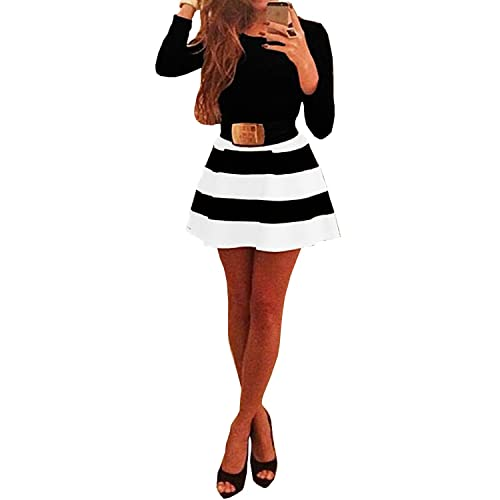 Womens Long Sleeve Black White...