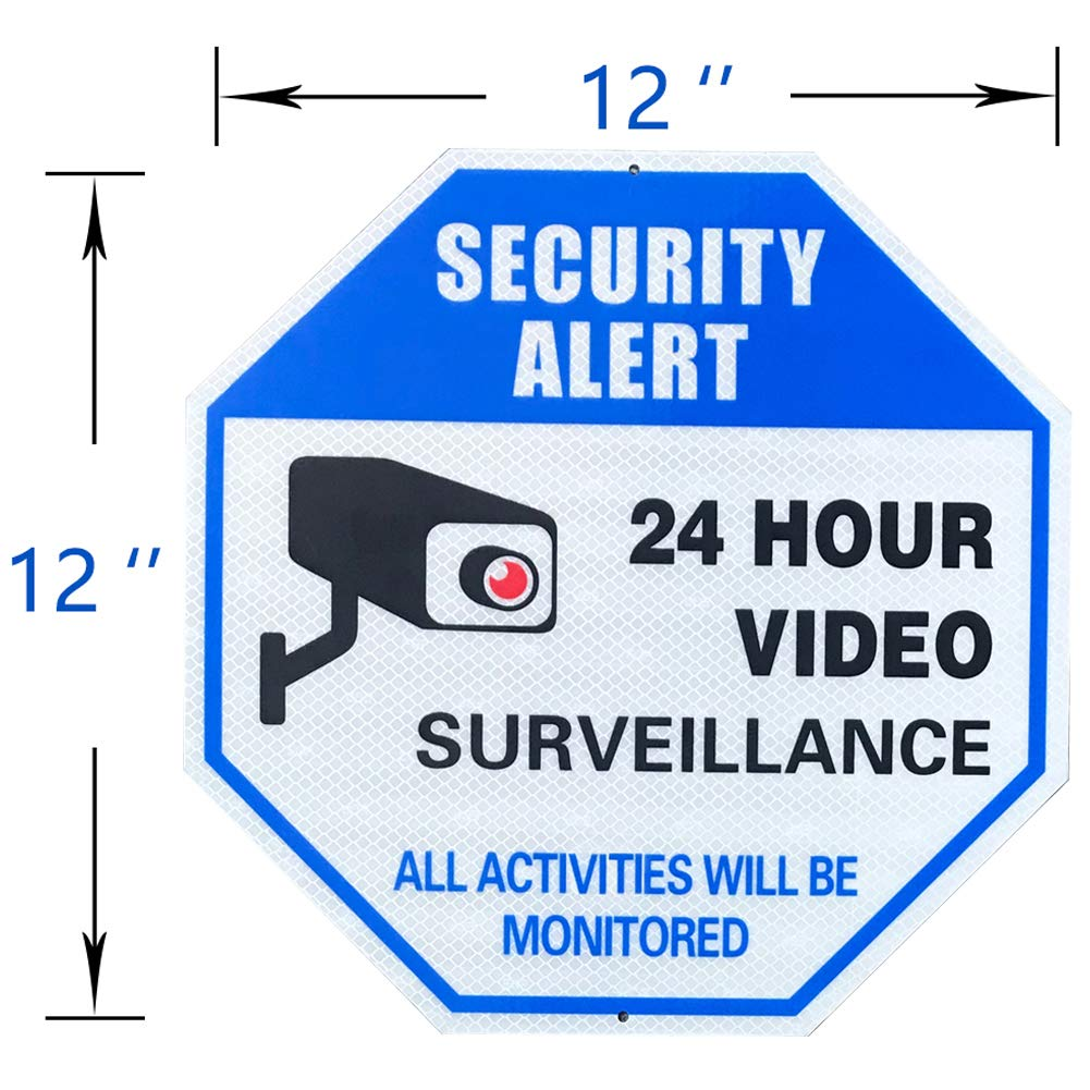 All Activities Will Be Monitored Super Reflective Video Surveillance Sign by Miracase Security Alert CCTV Camera Sign Large Octagon 12 x 12 Rust Free 0.40 Aluminum Sign Blue