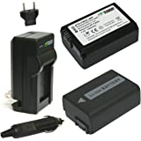 WASABI POWER KIT-BTR-FW50-LCH-FW50-01 2 Battery with Charger for Sony Devices (Black)