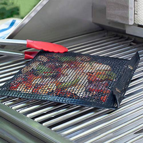 - Iusun BBQ Tool Wire Mesh Non-Stick Grilling Bag Grid Safe for Cooking Fish Vegetables Steak Shrimp Chops Wings and Many Other Food Great Useful Portable- Ship From USA (Black)