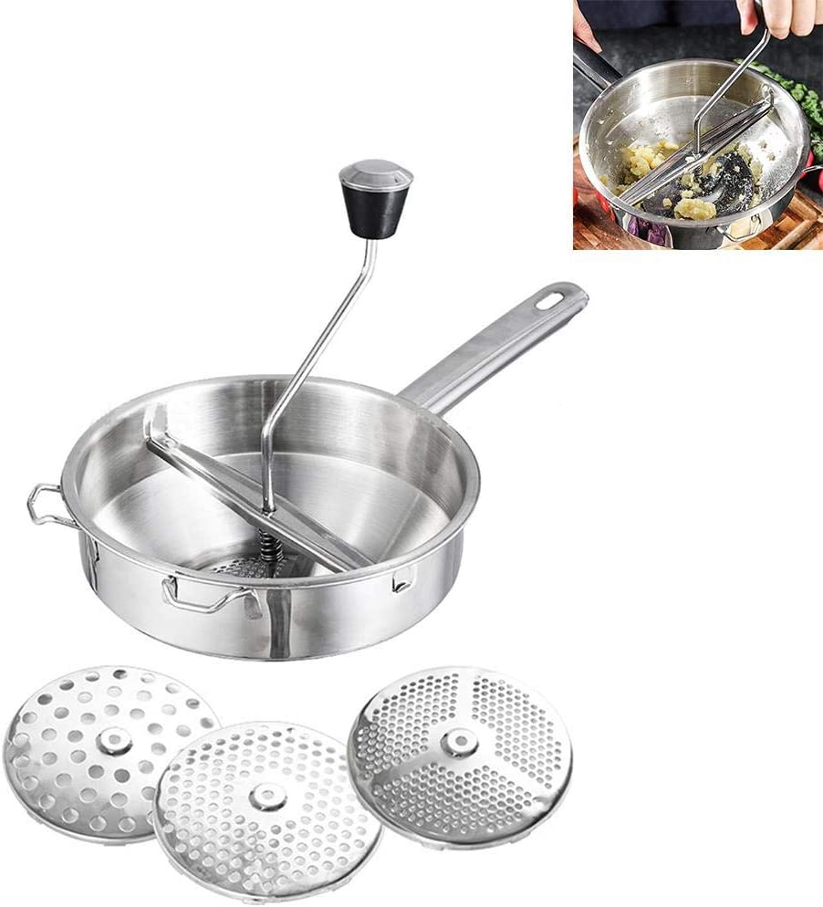 N/Y Stainless Steel Rotary Food Mill, Stainless Steel Food Mill with 3-Grinding Sizes Rotary Food Mill with 3 Interchangeable Disks Great for Making Vegetables Tomatoes Puree Or Soups