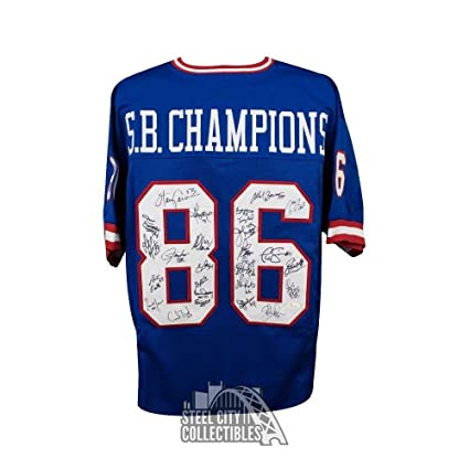 c4cd02999 Image Unavailable. Image not available for. Color  New York Giants  Autographed Superbowl Champions Custom Blue Football Jersey ...