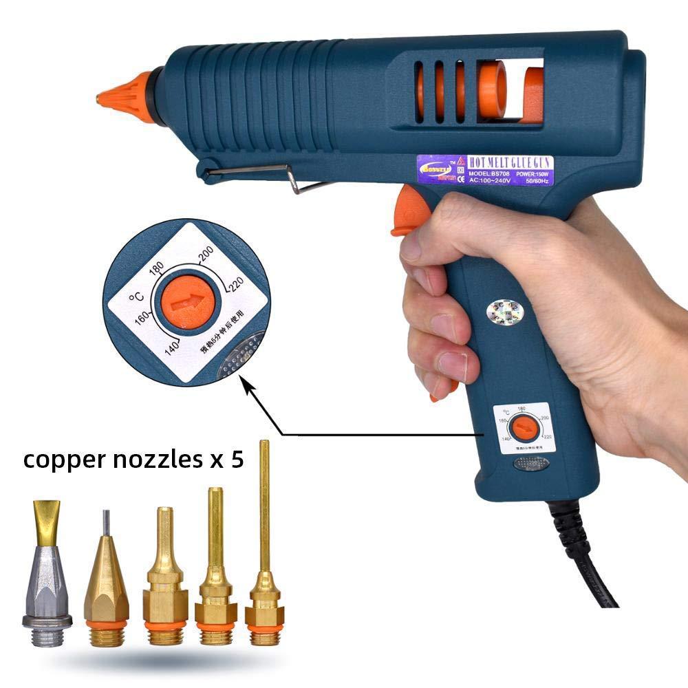 Glue Gun, 150W High Power with 5 Copper Nozzles Temperature Controllable Repair Craft Tool Professional Melting Hot Glue Gun Include 5Pcs Glue Sticks (Set 2(Glue Gun + 5 Glue Sticks + 5 Nozzles))