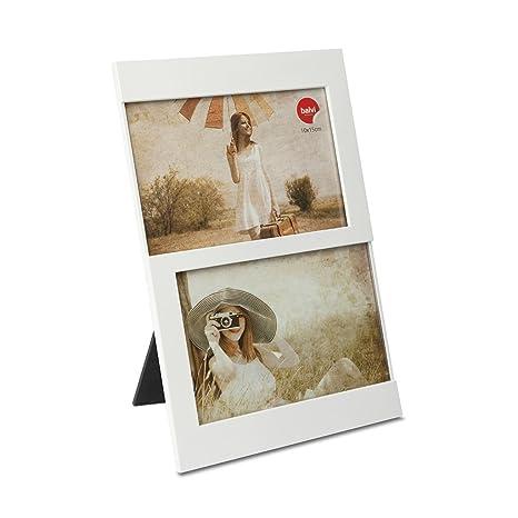 Balvi Marco Dijon Color Blanco Capacidad: 2 Fotos de 10x15 cm Marco de Fotos para sobremesa Plástico 25x16 cm