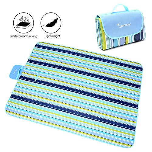 Extra Large Picnic Blanket Tote, Sportneer 60'' x 80'' Foldable Water-resistant Sandproof Blanket Mat for Outdoor Travel Camping Beach Grass
